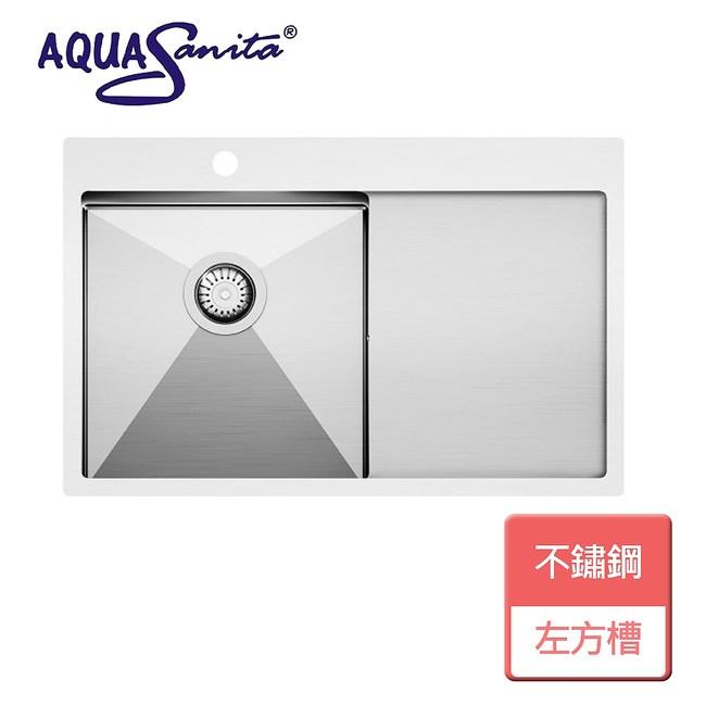 【AQUASANITA】檯面方槽-左槽-無安裝-LUN-101M-L