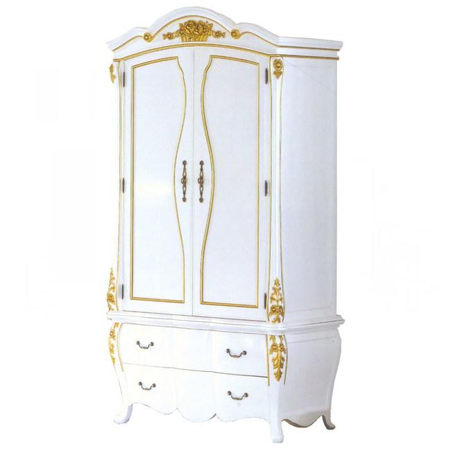 艾麗絲3.5尺法式象牙白金邊衣櫃