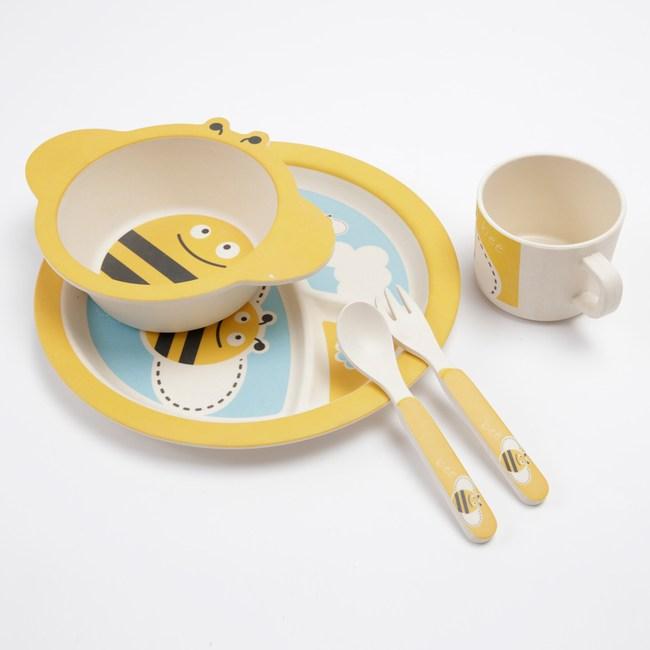 HOLA 尼奇蜜蜂三分隔盤餐具 五件組