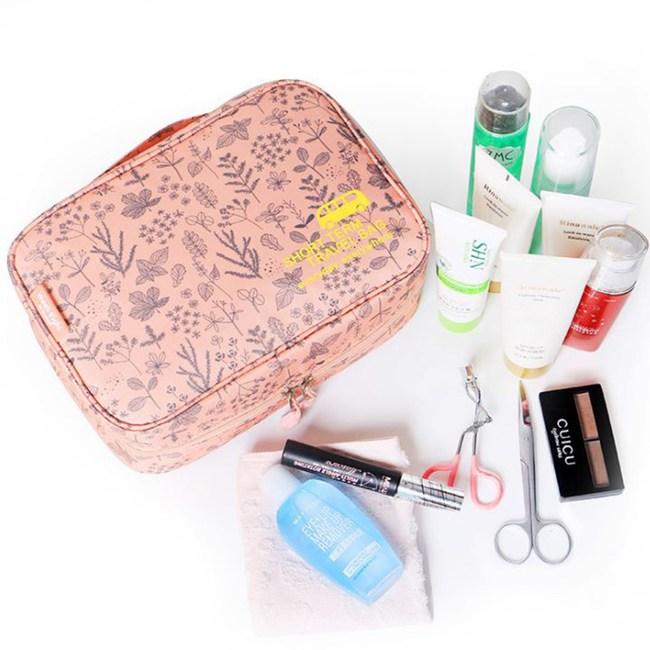 【韓版】420D加密防水小清新可懸掛盥洗化妝包(4色)(粉紅叢林)
