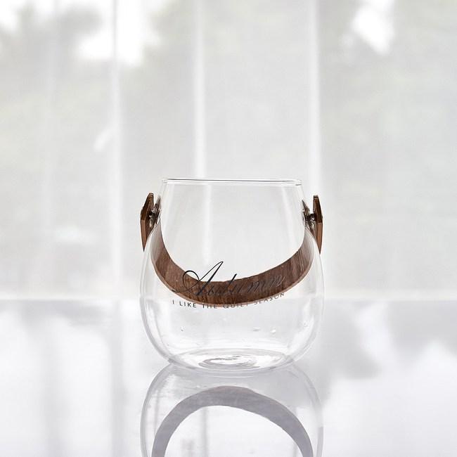 北歐風皮革手把玻璃花器-咖-小