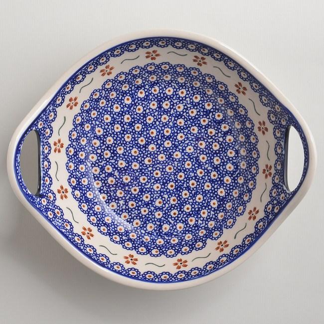 波蘭陶 紅點藍花系列 雙耳圓形深餐盤 22cm 波蘭手工製