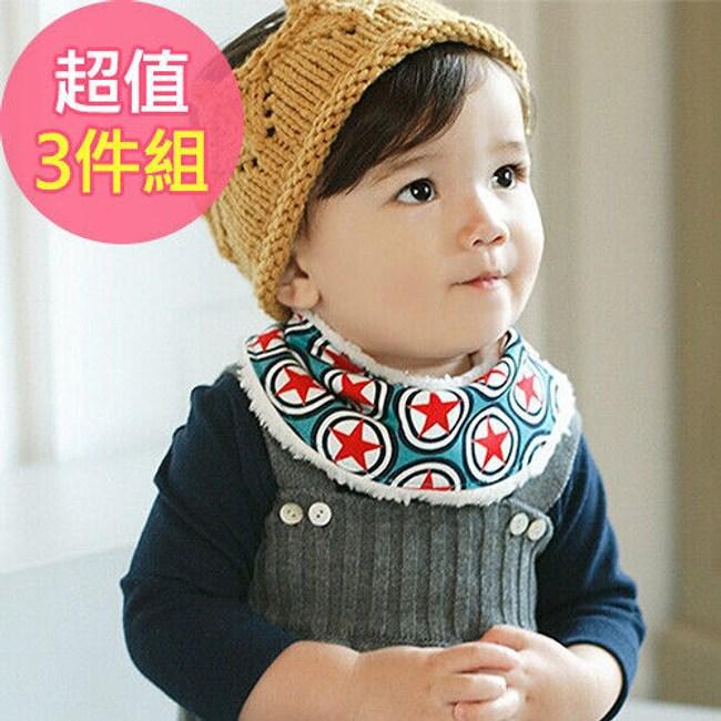 Q版寶寶可愛秋冬保暖半圓加絨圍巾 口水巾(3件組)-深藍+黃+白