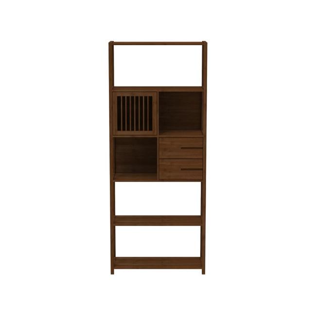 簡約現代落地楠竹雙抽格柵置物收納書櫃-胡桃色