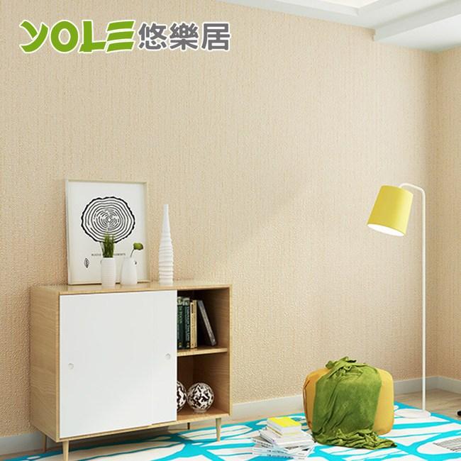 【YOLE悠樂居】客廳臥室自黏防水仿麻布壁紙壁貼-米黃(6m)