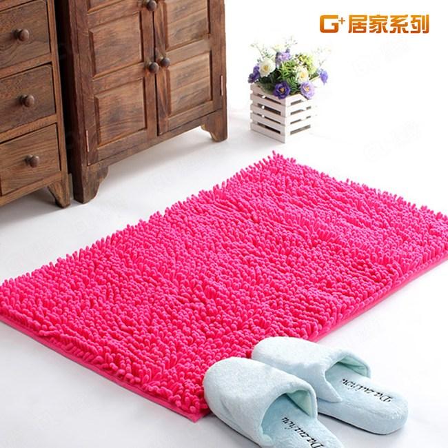 【G+居家】超細纖維長毛吸水止滑墊 40x60cm -蜜桃紅