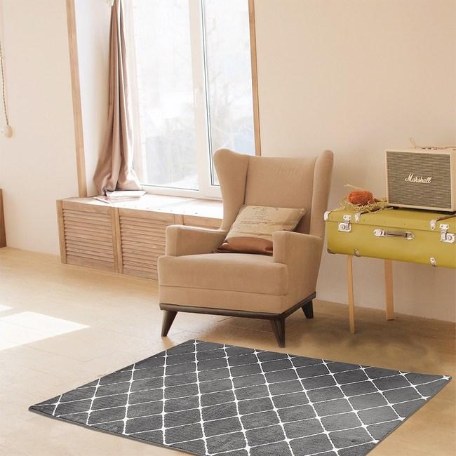 舒柔緹花菱紋地毯深灰100x160cm