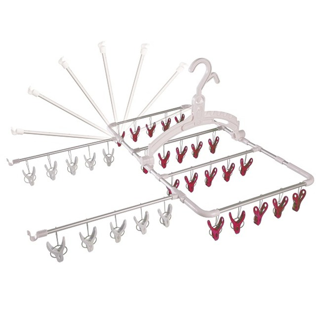 日本AISEN鋁合金6段式30夾曬衣架(紅色曬夾)
