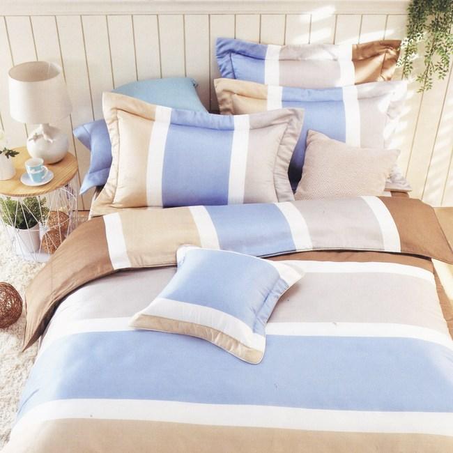 BUTTERFLY-純棉條紋三件式枕套床包組-平凡線-咖(雙人)