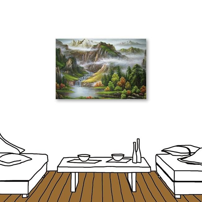 24mama掛畫 單聯式 山水風景 流水 招財 無框畫 40X60cm