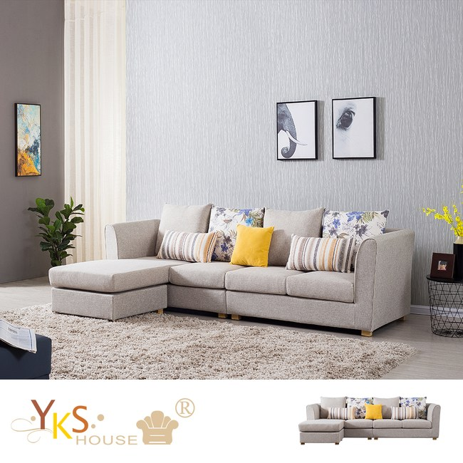 【YKSHOUSE】克萊兒L型布沙發-獨立筒版如圖
