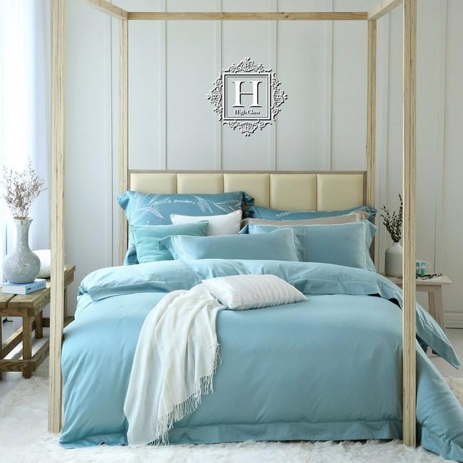 HOYACASA 極致優棉-青瓷綠頂級500織匹馬棉被套床包組-雙人