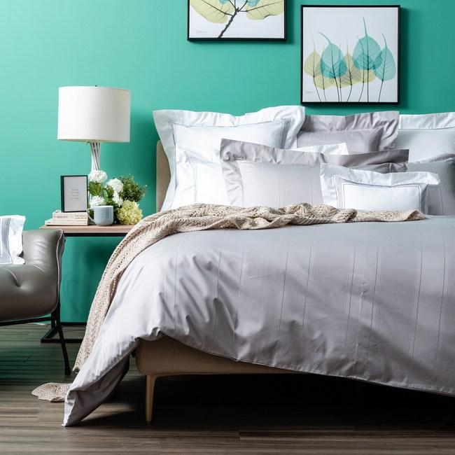 HOLA 義式孟斐斯埃及棉素色床包 加大 灰色