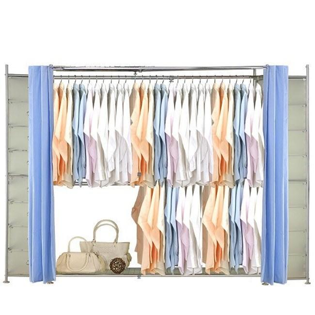 巴塞隆納─AH-50伸縮衣櫥 前布簾水藍色不織布
