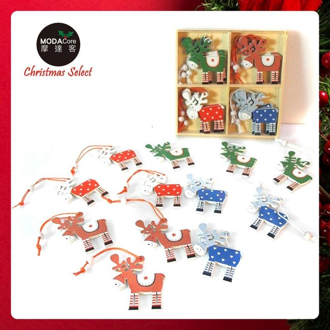 摩達客木質彩繪聖誕吊飾-彩色麋鹿系-24入(12入*2盒裝)