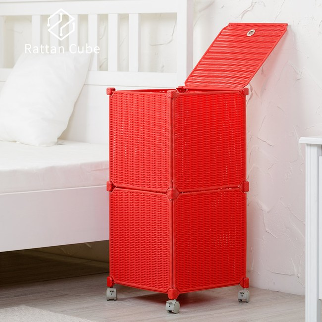 【藤立方】組合移動式洗衣籃 (附輪)-紅色-DIY
