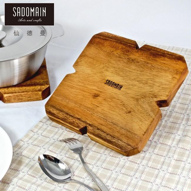 【仙德曼 SADOMAIN】洋槐原木餐具鍋墊-方形(買一送一)