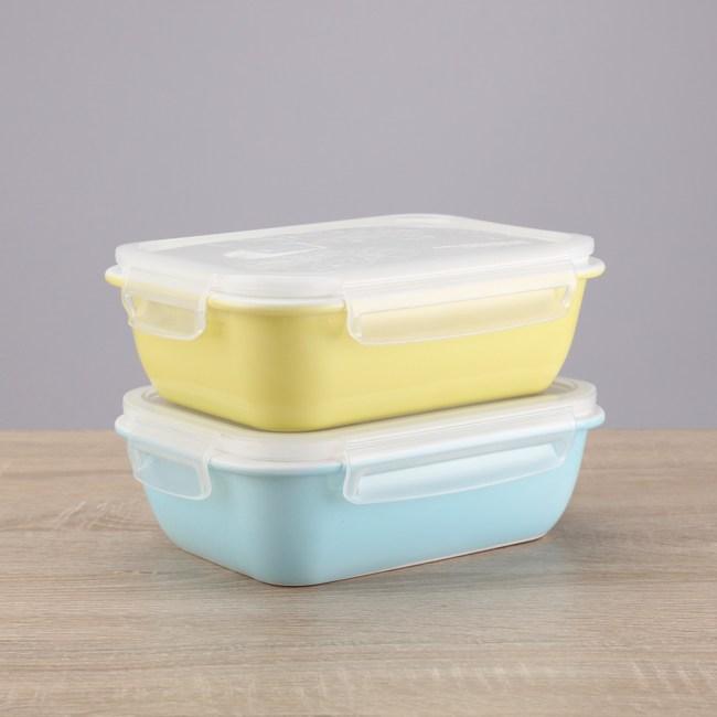 HOLA home陶瓷長方形保鮮盒兩入組