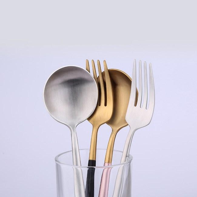 PUSH!餐具不鏽鋼粉金刀叉勺子4件套E109-2粉金色