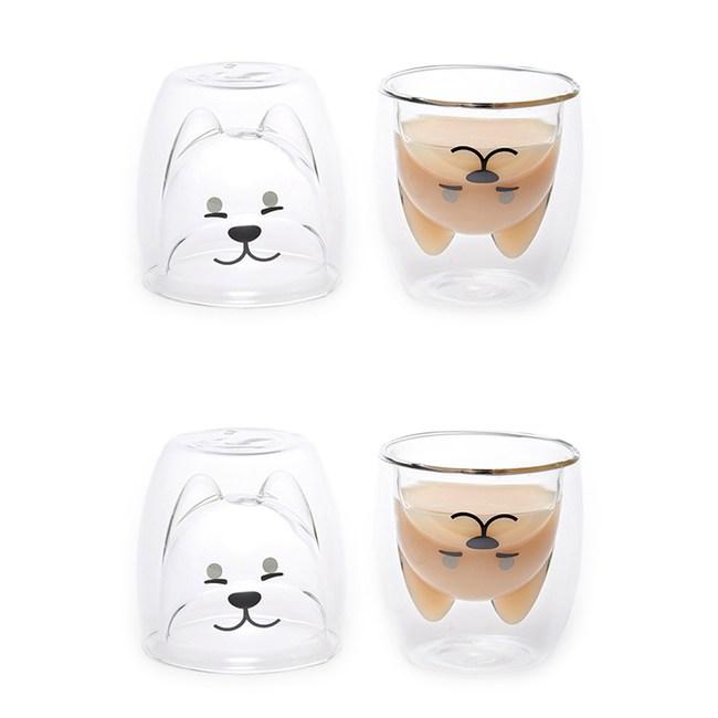 動物造型耐熱雙層玻璃杯200ml(柴犬)-2入組