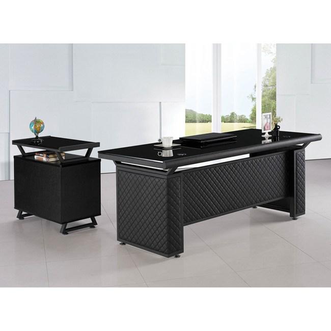 造型皮製6尺L辦公桌組