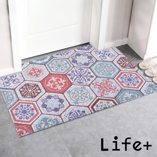Life Plus 北歐INS 可剪裁絲圈除塵地墊/腳踏墊-歐式花磚D