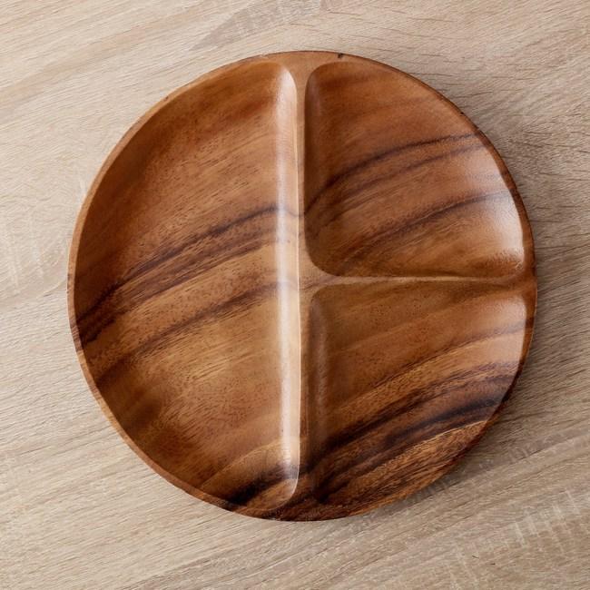 HOLA  桑梧洋槐木圓形三格盤20cm