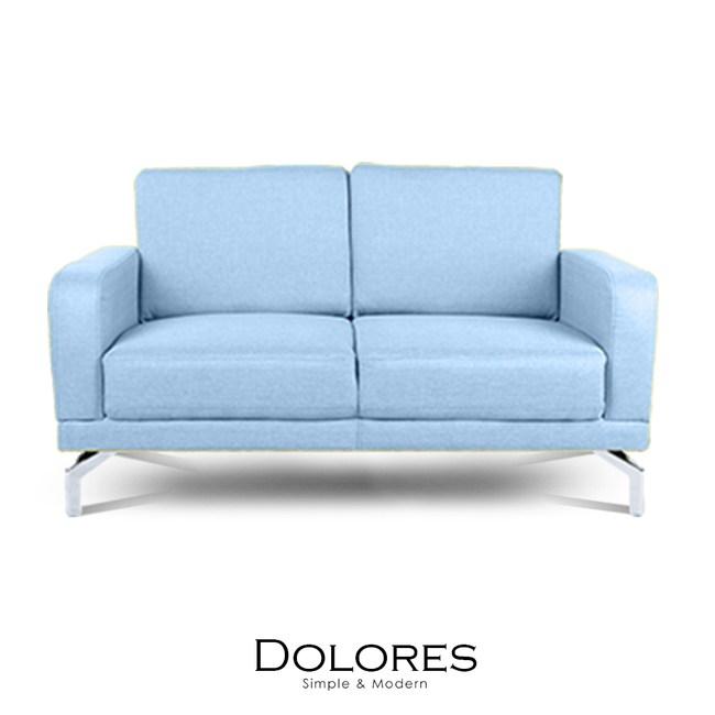 【obis】Dolores雙人布沙發-淺藍色