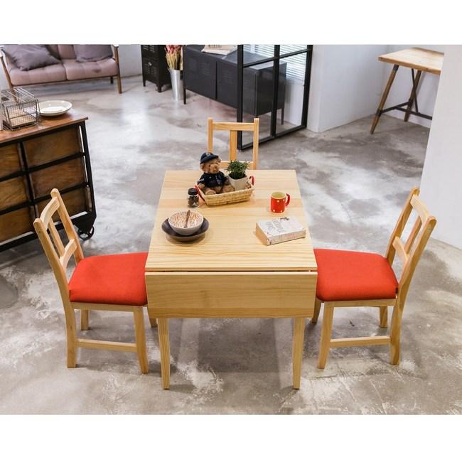 CiS 南法原木桌椅組 74x98cm桌+4椅 (扁柏自然色) 六選一