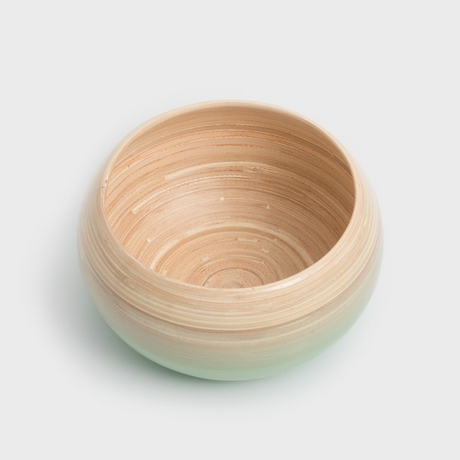 WAGA 清新南洋 18cm手工竹圓碗-粉豆綠