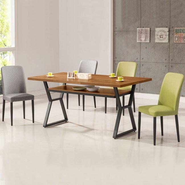 Homelike 肯納工業風5尺餐桌椅組(一桌四椅)二灰二綠椅