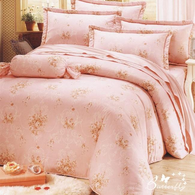 【BUTTERFLY】台製40支紗純棉-加高30cm薄式加大床包枕套三件組-心花朵朵-粉