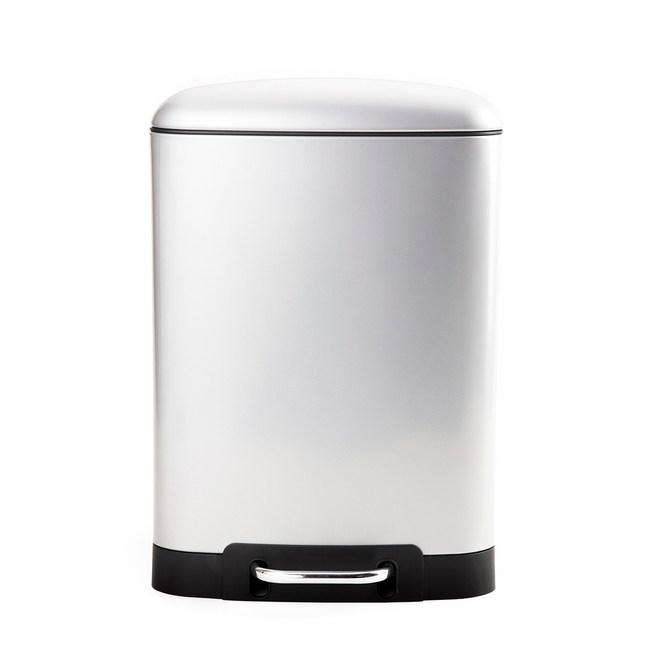 HOLA 格朗方形緩降踏式垃圾桶12L 鈦銀