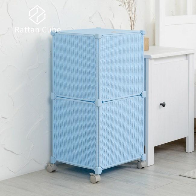 【藤立方】組合移動式洗衣籃 (附輪)-粉藍色-DIY