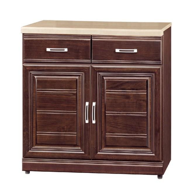 【YFS】華斯實木2.7尺石面碗盤櫃下座-81x42x81cm(兩色可胡桃