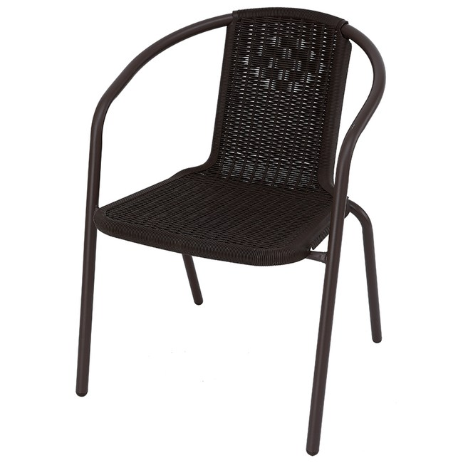 塑膠仿藤編扶手椅 咖啡色款 55x38x77cm