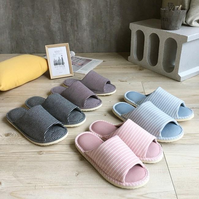 【iSlippers】樂活系列-超厚軟布質家居室內拖鞋灰藍條紋(L)