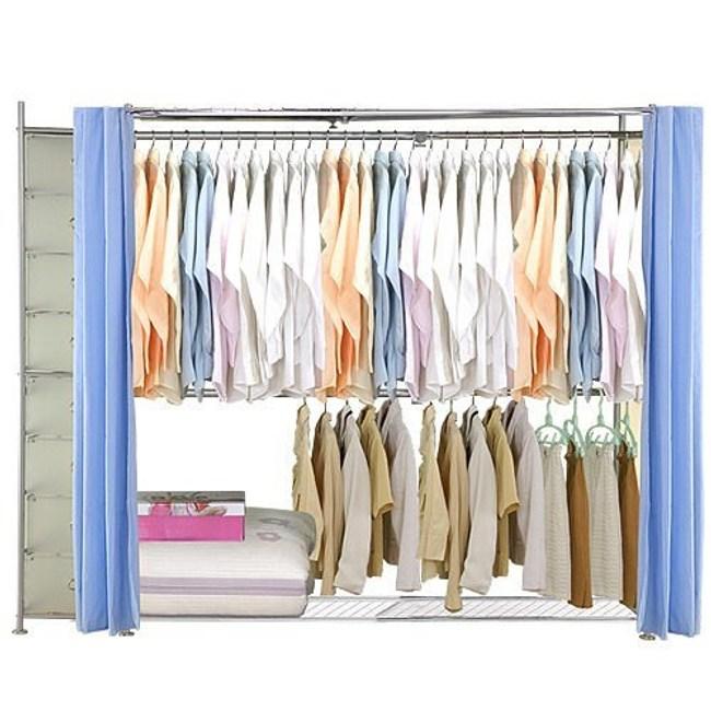 巴塞隆納─AH-44伸縮衣櫥 前布簾水藍色不織布