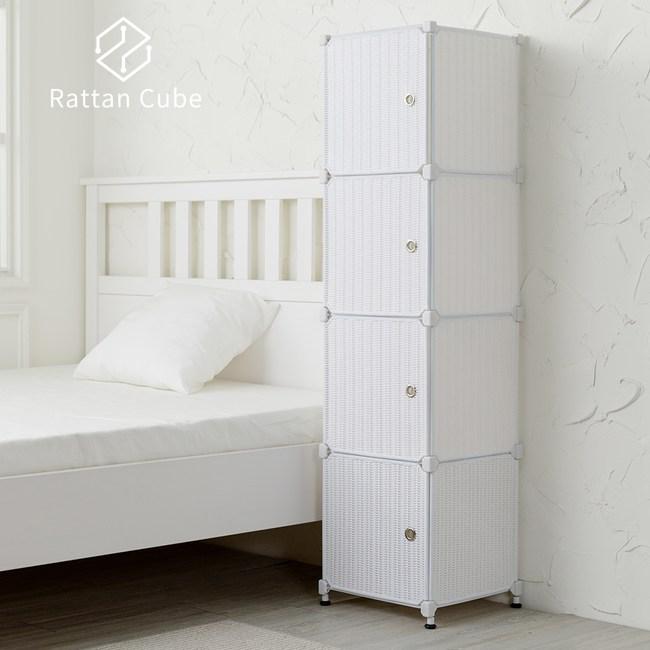 【藤立方】組合4格收納置物櫃(4門板+調整腳墊)-白色-DIY