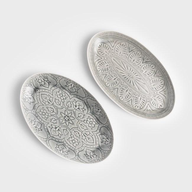 WAGA 歐式 冰裂浮雕36cm陶瓷橢圓盤-玄武石灰