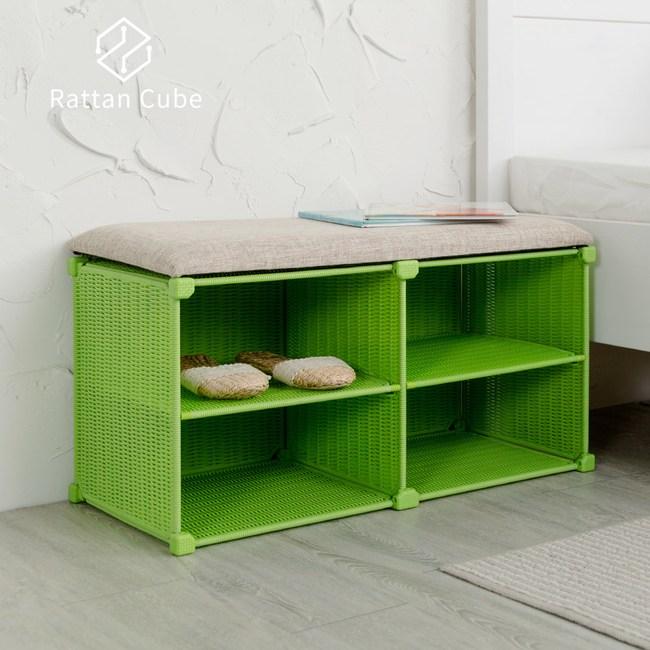 【藤立方】組合穿鞋椅(附2片層板)-綠色-DIY