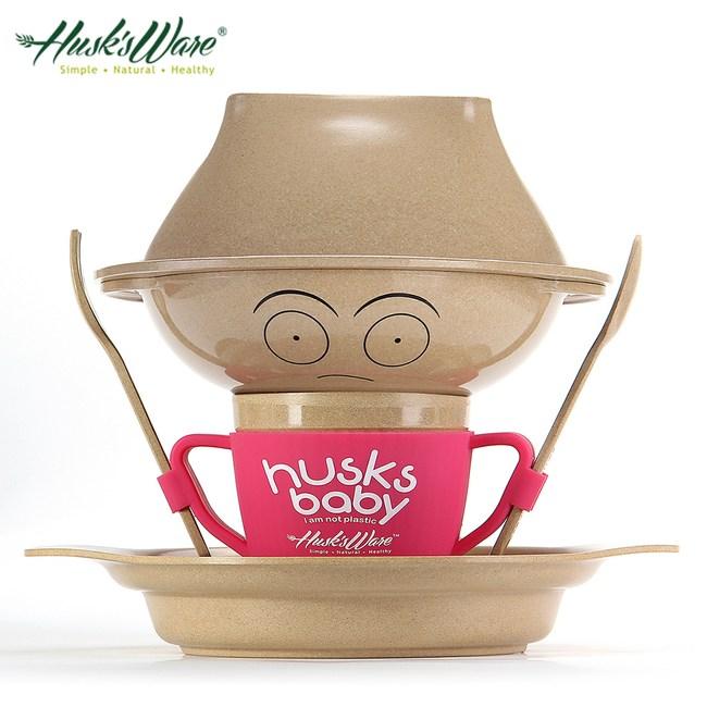 美國Husk's ware 稻殼天然無毒兒童環保餐具人偶組(桃紅色)