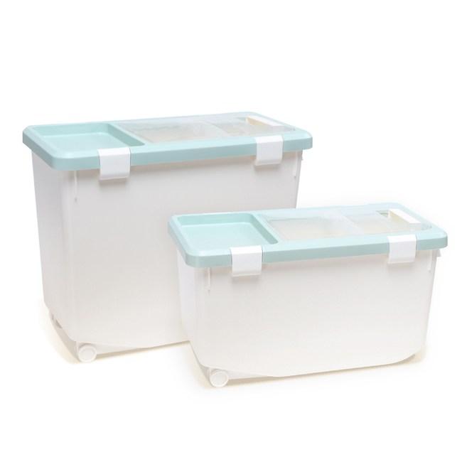 【IDEA】無印掀蓋密封防潮儲物桶/飼料桶附量杯(2入組大號)灰