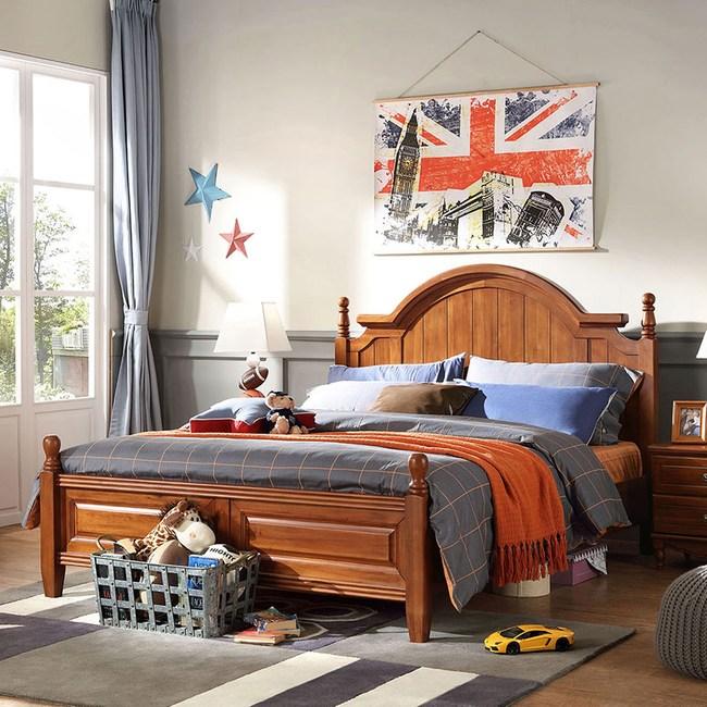 林氏木業美式全實木雙人5尺兒童床組 FA1A