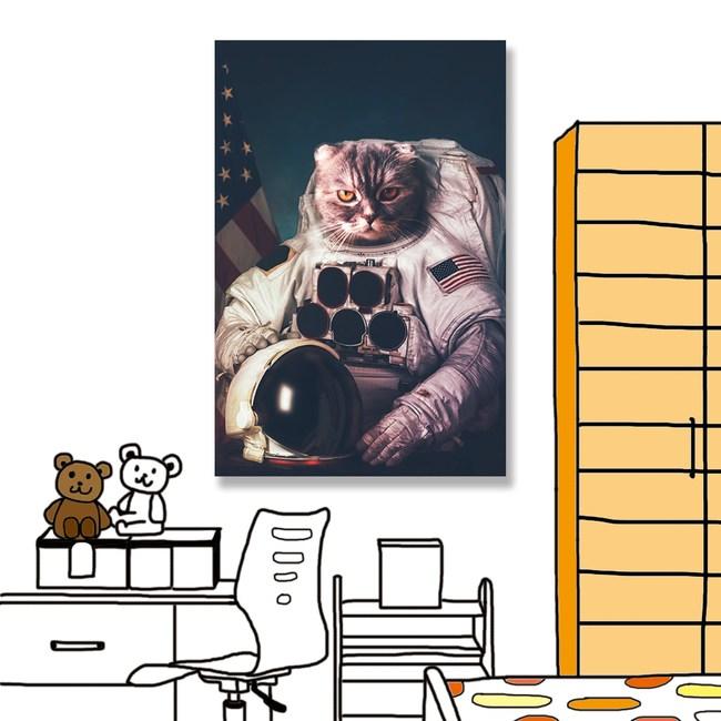【24mama 掛畫】單聯式 油畫布 無框畫40x60cm-貓咪太空人油畫布無時鐘