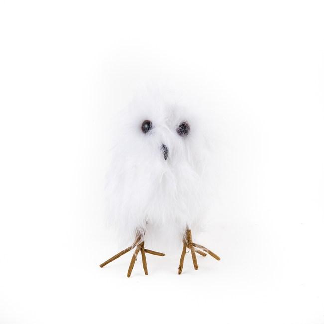 貓頭鷹羽毛吊飾 米白
