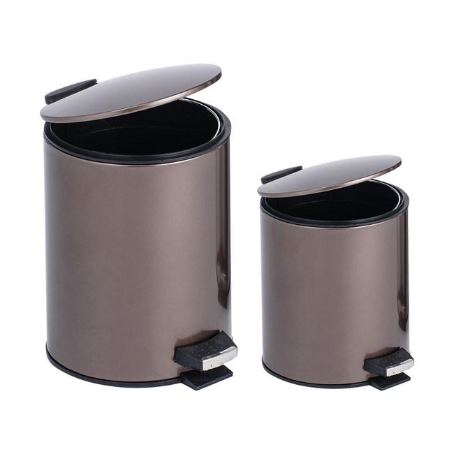 (組)里昂金屬緩降垃圾桶5L+12L