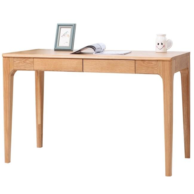 原木日式半島白橡木實木兩抽1.2M書桌w0421