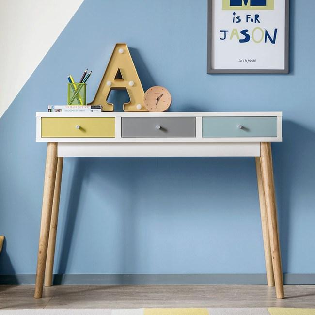 林氏木業現代簡約北歐三色抽屉實木腳書桌LS045SZ1