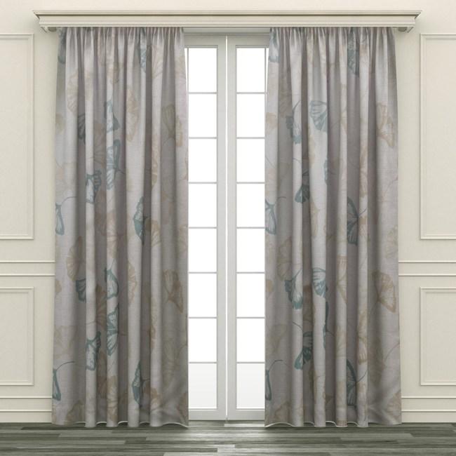 HOLA 銀葉印花隔熱背膠全遮光落地窗簾 270x165cm 灰金色